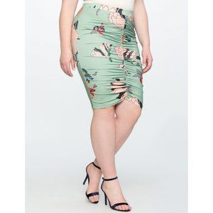 NEW Eloquii Green Floral Ruched Miracle Skirt